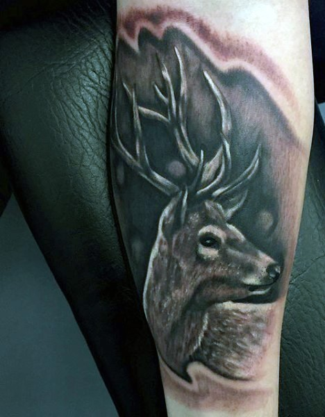 Medium sized black and gray style forearm tattoo of deer