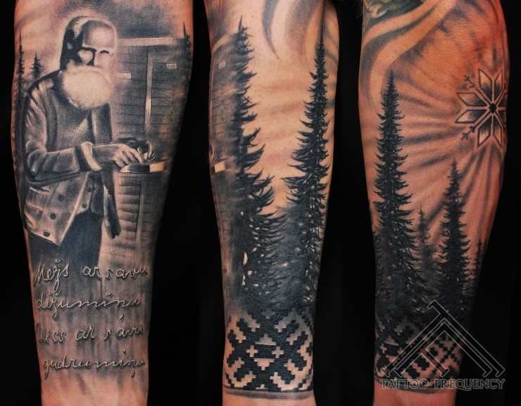 Memorial style black and white forearm tattoo of old man for Memorial forearm tattoos