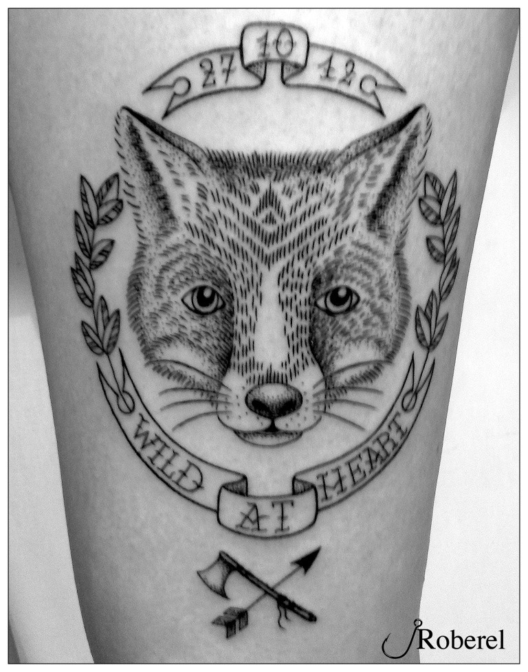 Memorial style black ink fox portrait with date and lettering tattoo on leg