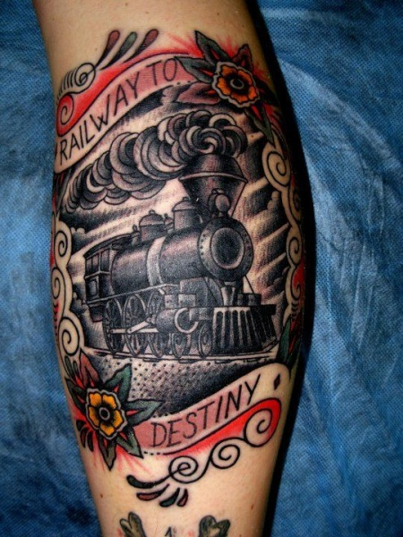Memorial style train portrait tattoo with lettering