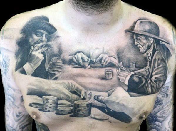 Tatuaje en el pecho,  hombres que juegan juegos de azar