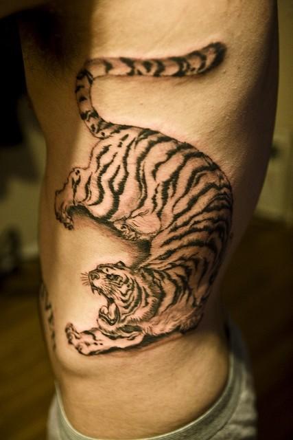 tigre nero minaccioso  tatuaggio su costolette