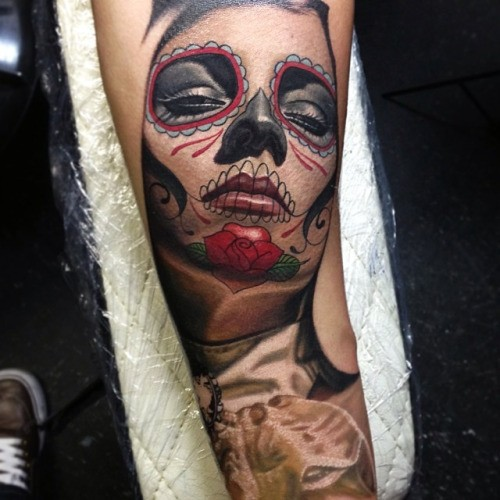 Mexican native beautiful colored forearm tattoo of womans portrait