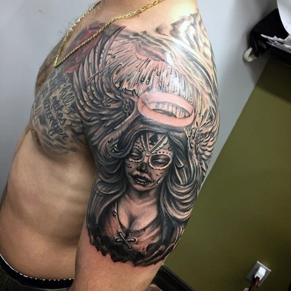 Mexican native designed colored angel woman tattoo on shoulder and lettering