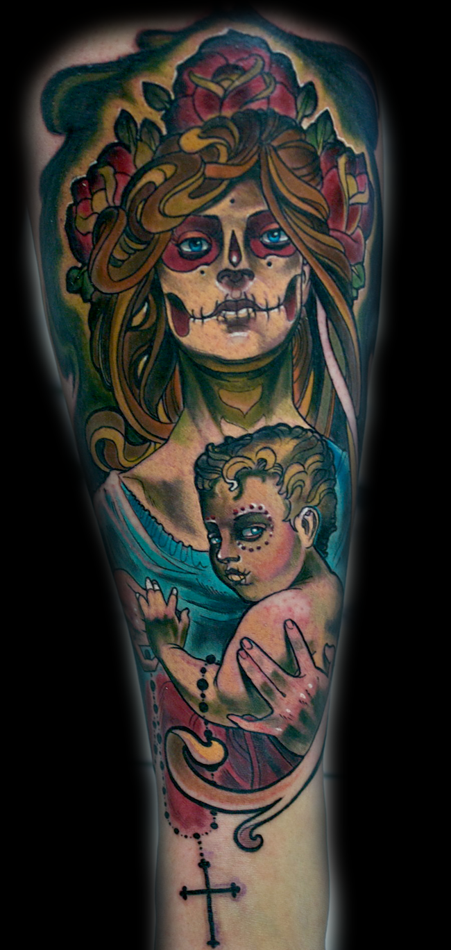 Mexican native multicolored Mother and baby tattoo on thigh with various flowers and cross