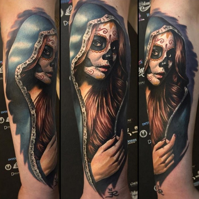 Mexican native realistic looking colorful forearm tattoo of beautiful woman portrait