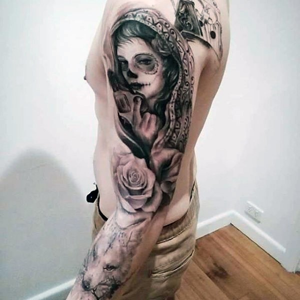 Mexican native style black in sleeve tattoo of woman portrait with pistol, rose and wolf