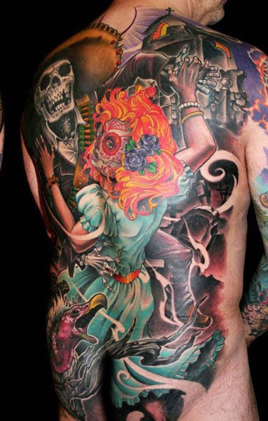 Mexican native traditional colored Did de los muertos tattoo on whole back
