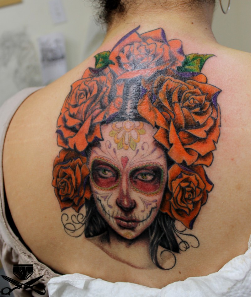 Mexican skull girl with big roses tattoo for Mexican girl tattoos