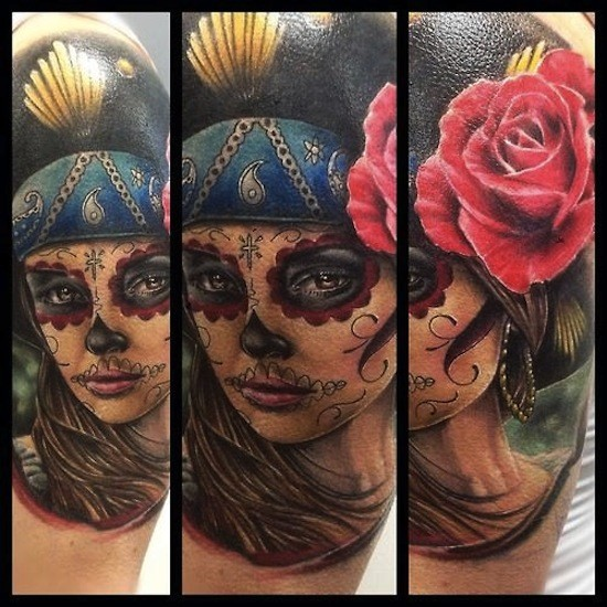 Mexican style colored beautiful woman portrait tattoo with red rose