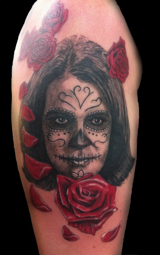 Mexican style painted detailed woman portrait tattoo on for Mexican style tattoos
