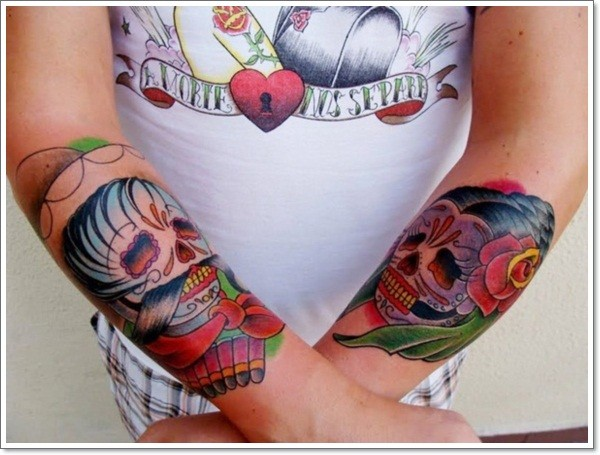 Mexican sugar men and women forearm tattoo