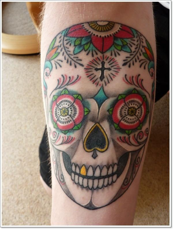 Mexican sugar skull tattoo by Springnando
