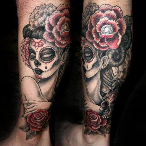 Mexikanisches Traditionelles Farbiges Bein Tattoo Mit Der Frau Und