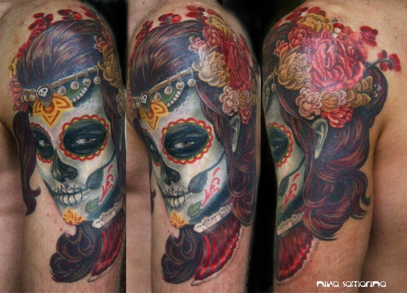 Mexican traditional colored shoulder tattoo of woman portrait with flowers