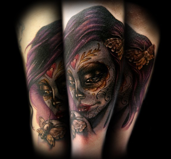 Mexican traditional colored woman portrait tattoo with butterfly