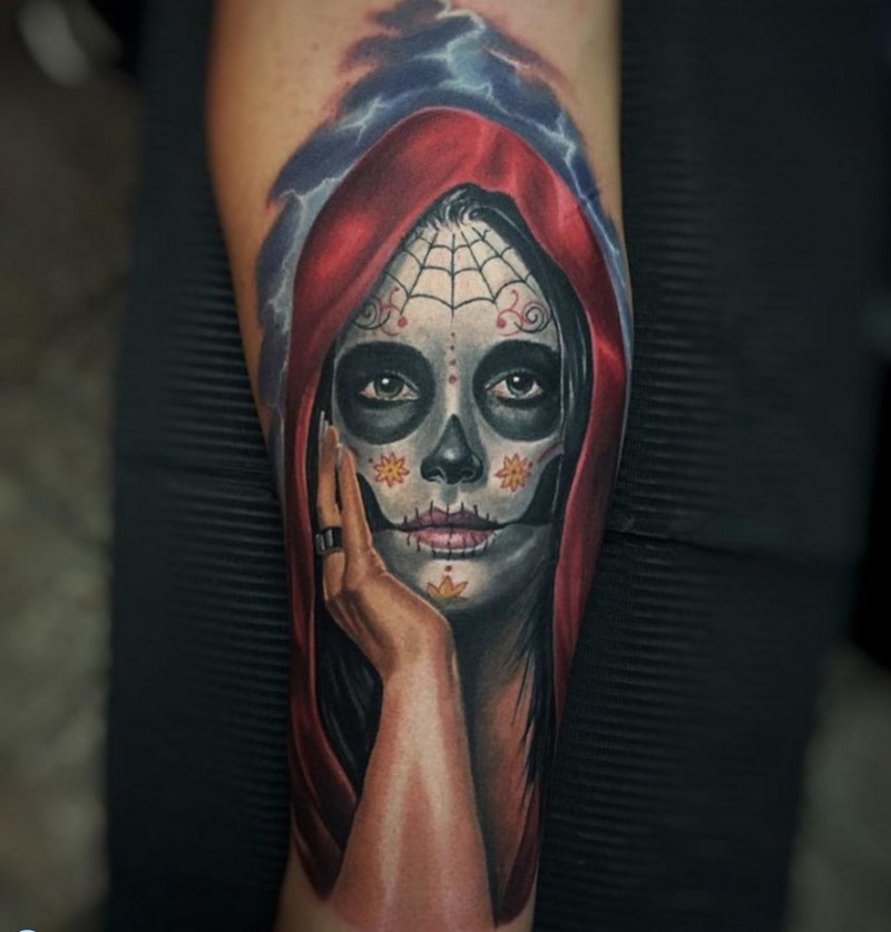 Mexican traditional detailed looking forearm tattoo of woman portrait