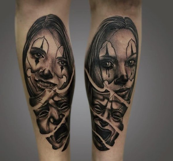 Mexican traditional style black and white forearm tattoo of clown woman with happy and sad masks