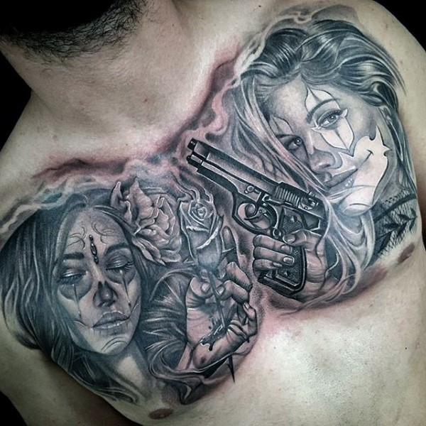 e60e093a3 Mexican traditional style black ink chest tattoo women with flowers and  pistol