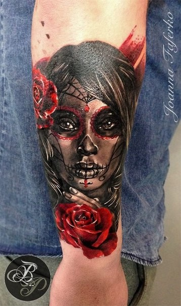 Mexican traditional style colored arm tattoo of woman face with rose