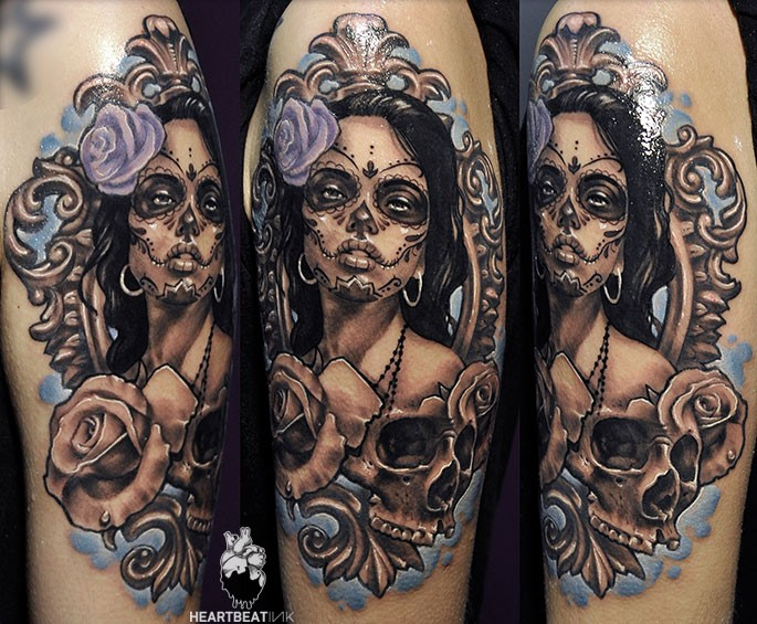 Mexican traditional style colored shoulder tattoo of woman portrait with skull and flowers