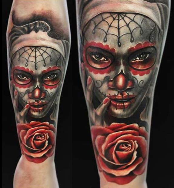 Mexican traditional style colored tattoo of woman face with rose