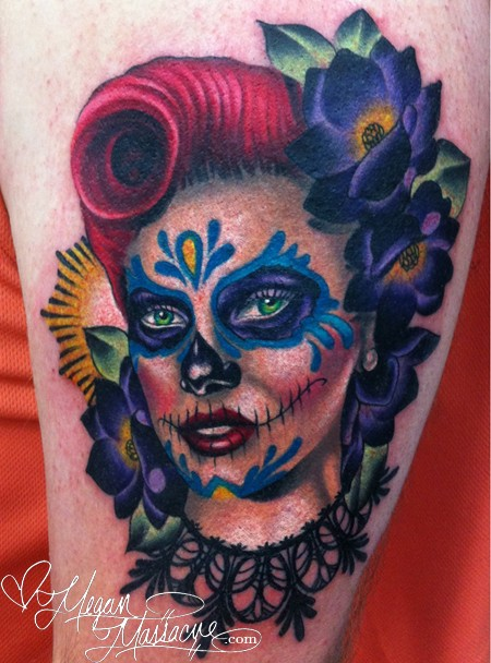 Mexican traditional style colored tattoo of woman face with flowers