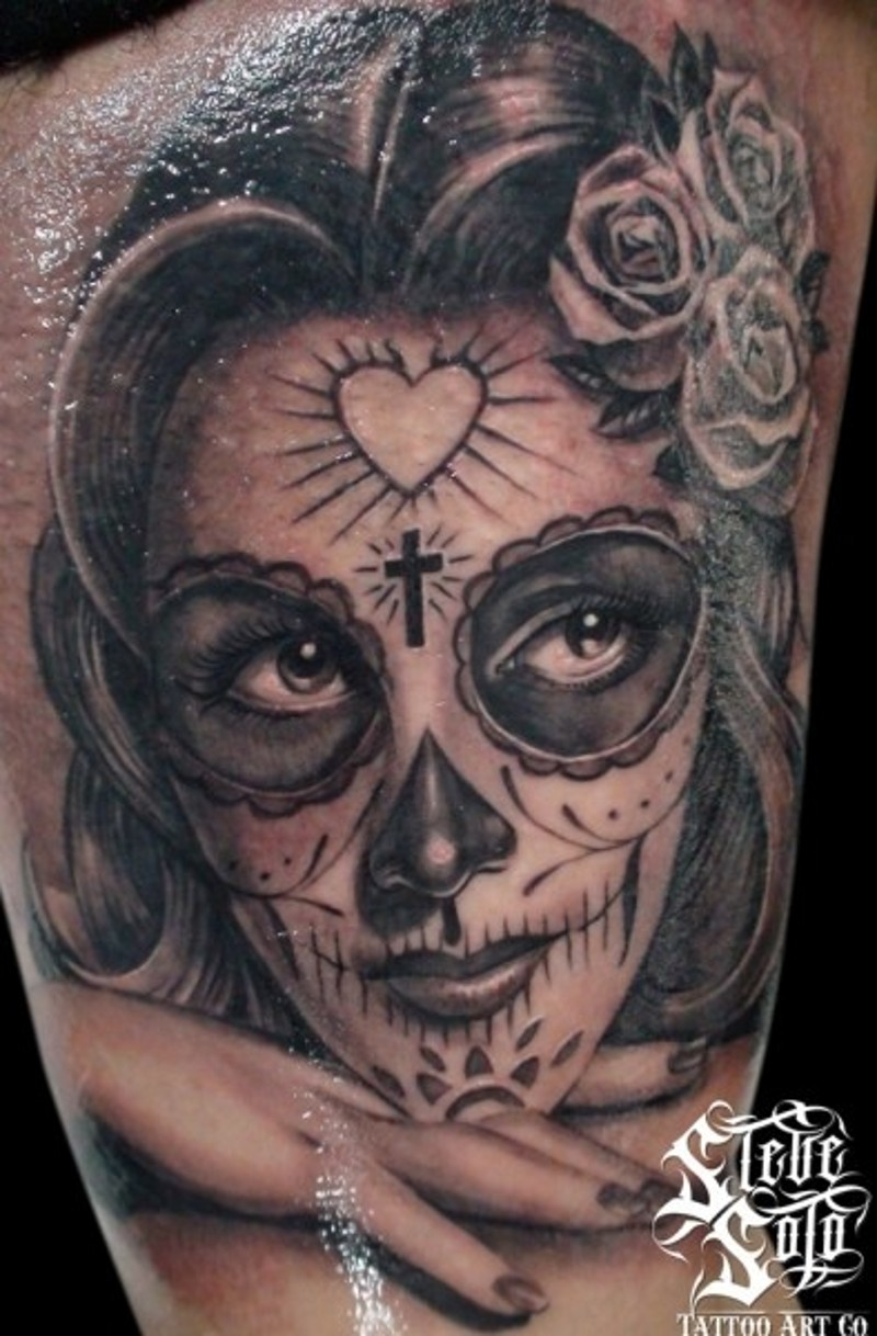 Mexican traditional vintage woman portrait tattoo on arm