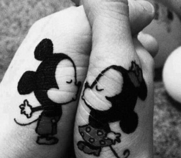 Mickey and minnie cute friendship tattoos