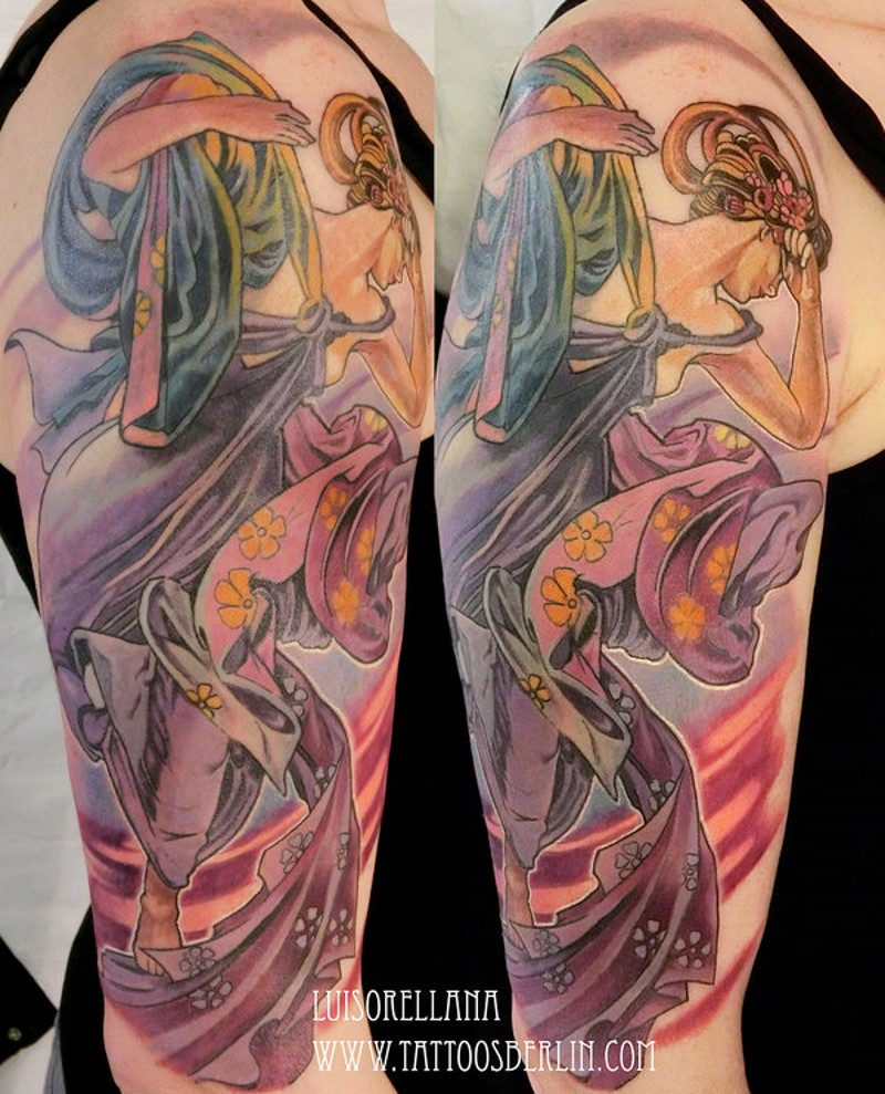 Modern Asian cartoon style colored big shoulder tattoo of geisha in beautiful dress