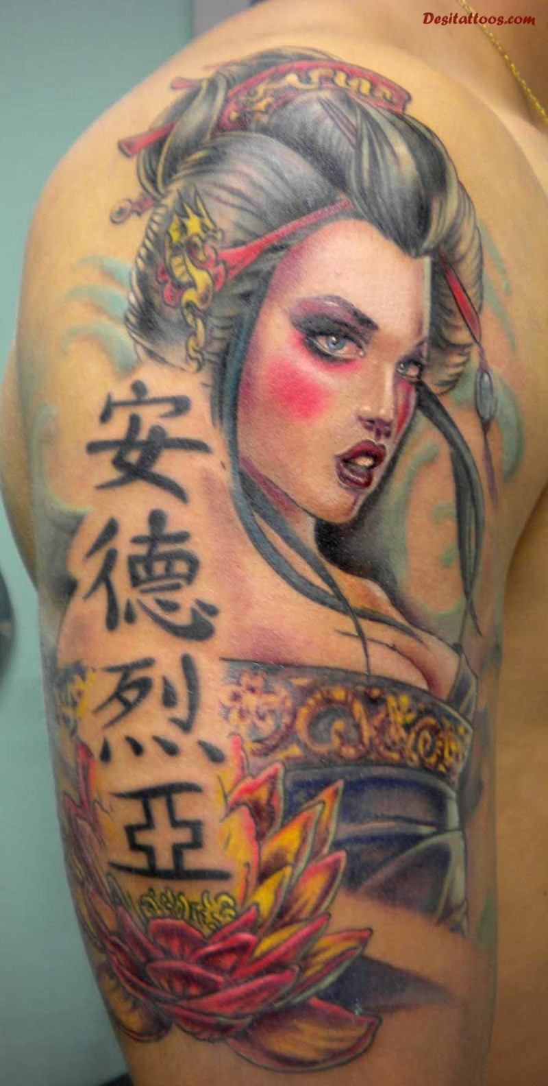 Modern cartoon style colored shoulder tattoo of sexy geisha with lettering