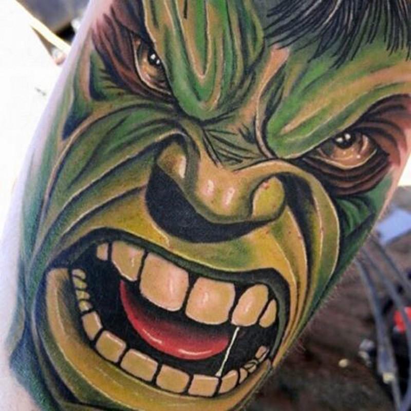 Modern comic books themed colorful leg tattoo of angry Hulk face