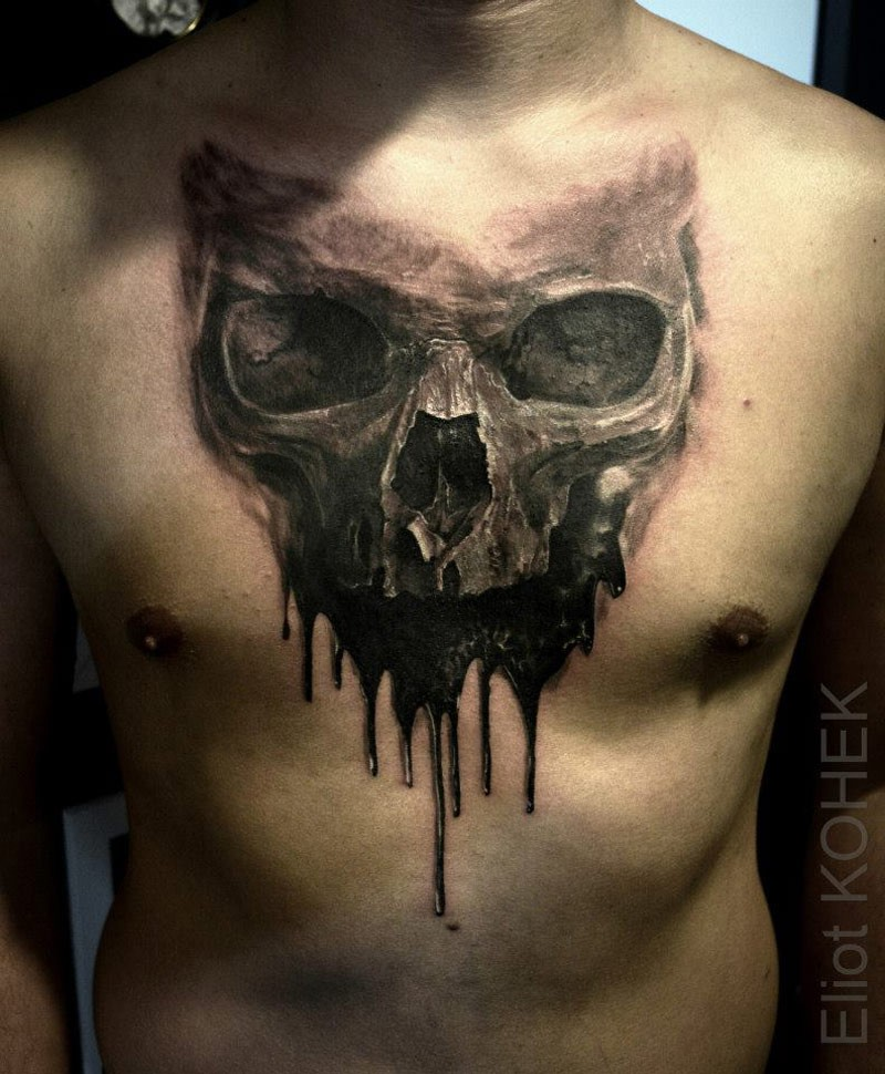 Modern fantasy style interesting designed chest tattoo of human skull with black liquid