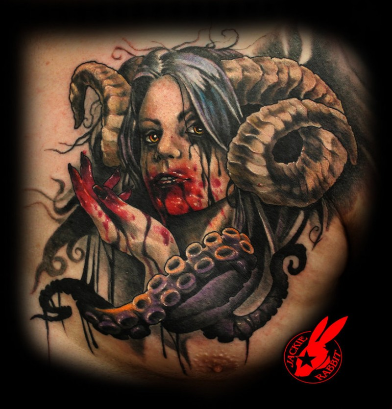 Tattoo Woman Demonic: Modern Horror Cartoons Style Colored Bloody Demonic Woman