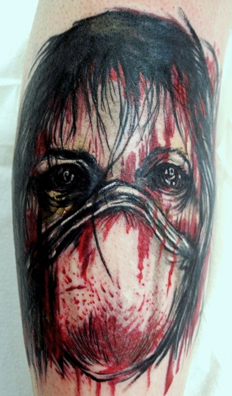 Modern horror movie bloody monster nurse tattoo on leg
