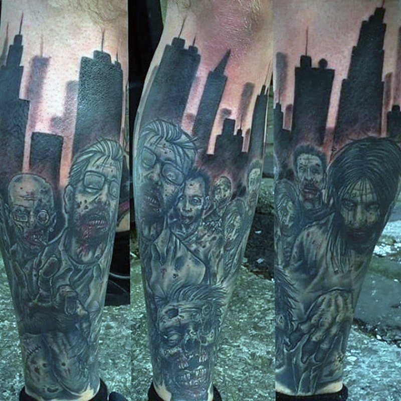 Modern horror movie night city zombies tattoo on leg