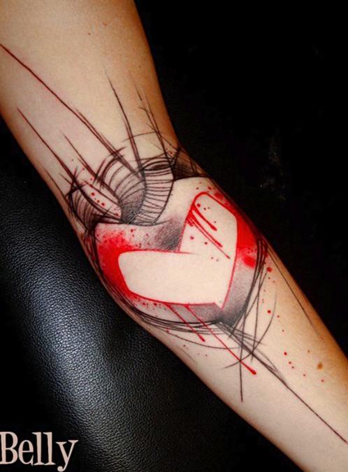 Modern idea of heart tattoo on arm