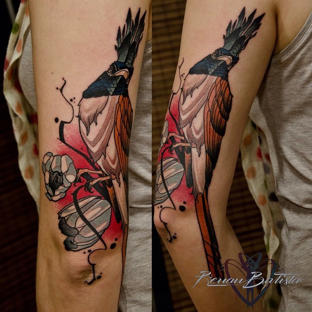 Modern illustrative style colored arm tattoo of fantasy bird with blooming tree branch