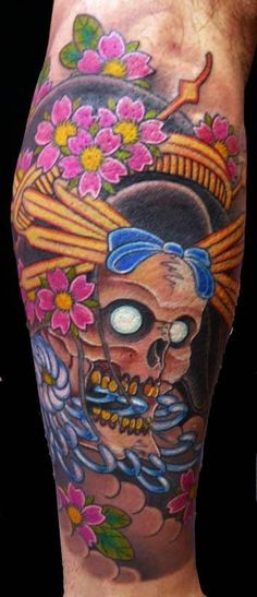 Modern Japanese style colored geisha skull with flowers tattoo