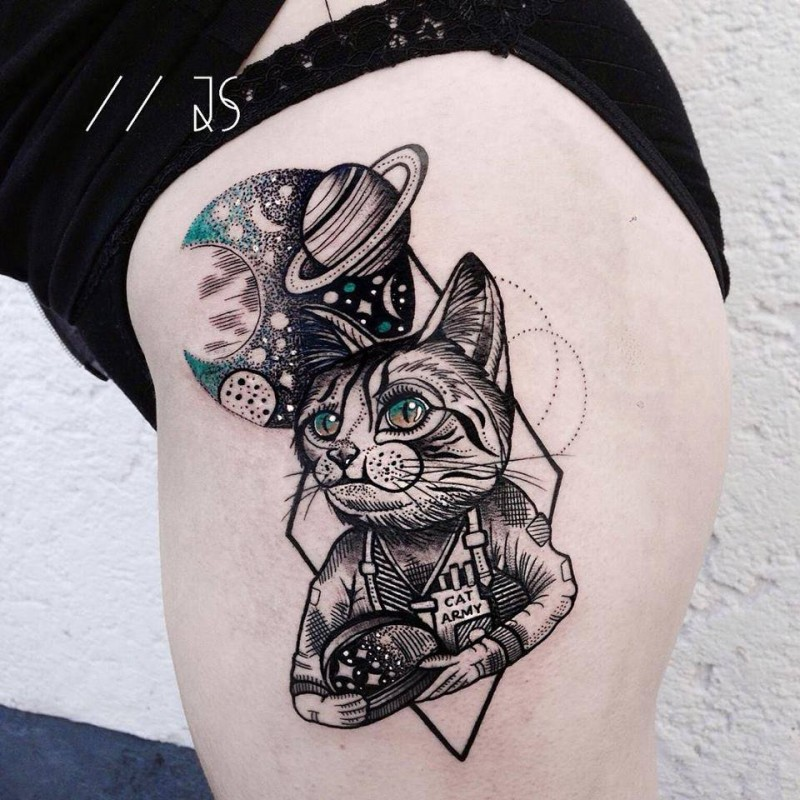 Modern new school style thigh tattoo of cat astronaut with planets and moon
