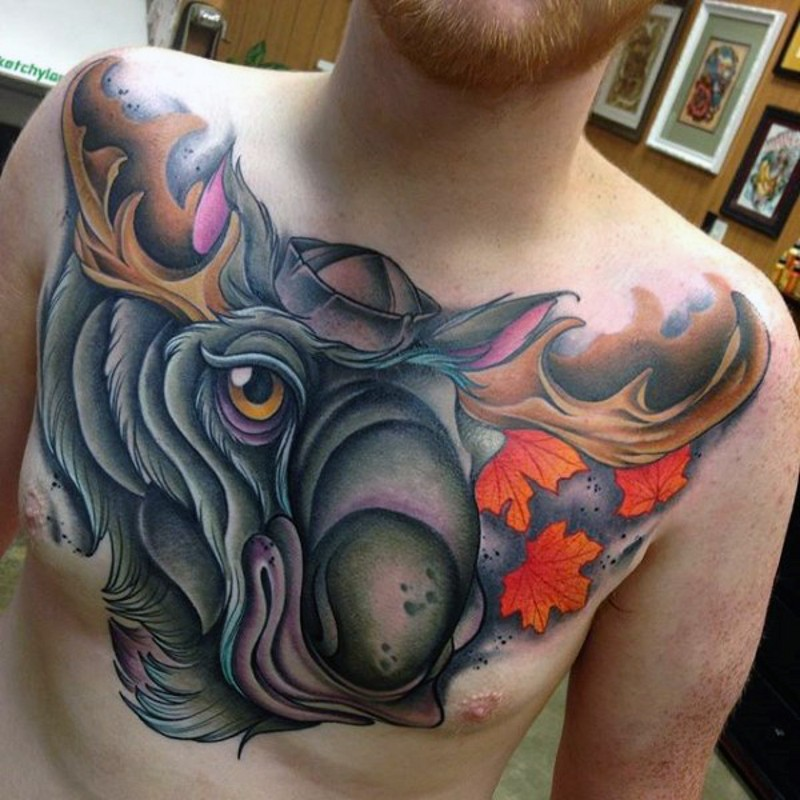 Modern school style colored funny elk tattoo on chest with maple leaves