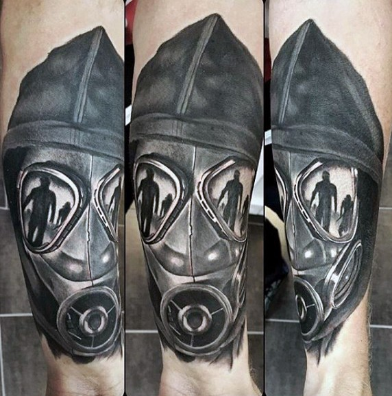 Modern style black ink man in gas mask and hood