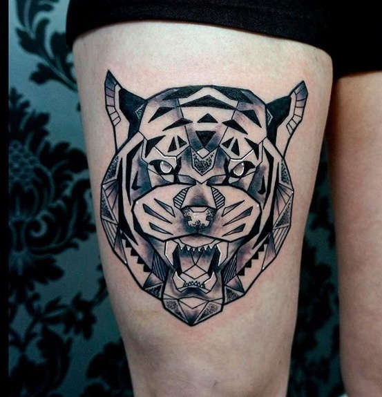 Modern style black ink thigh tattoo of angry tiger head