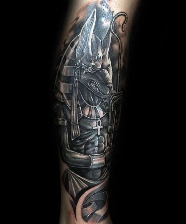 Modern style colored arm tattoo of Ancient Egypt God