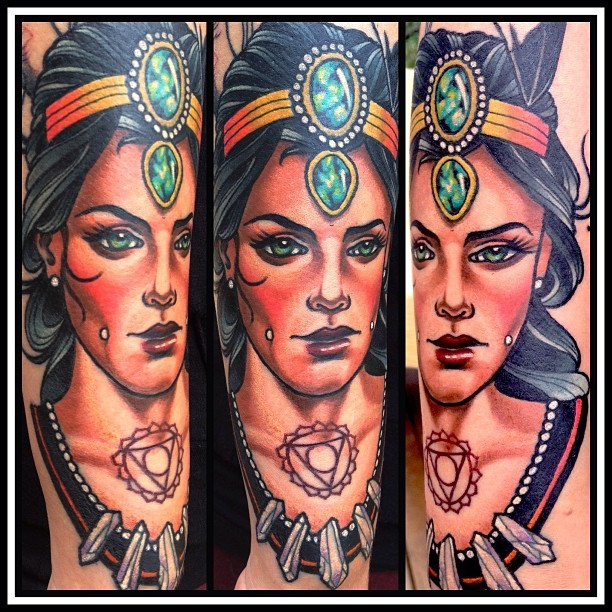 Modern style colored arm tattoo of ancient woman with jewelry