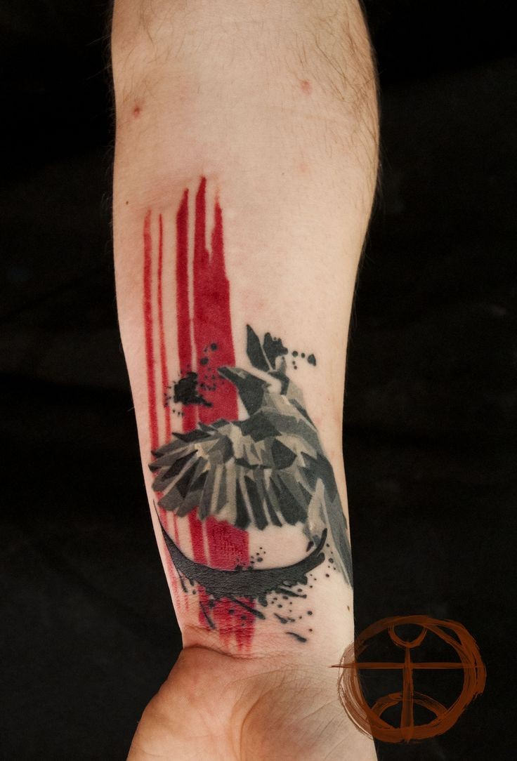 Modern style colored arm tattoo of flying bird with red lines