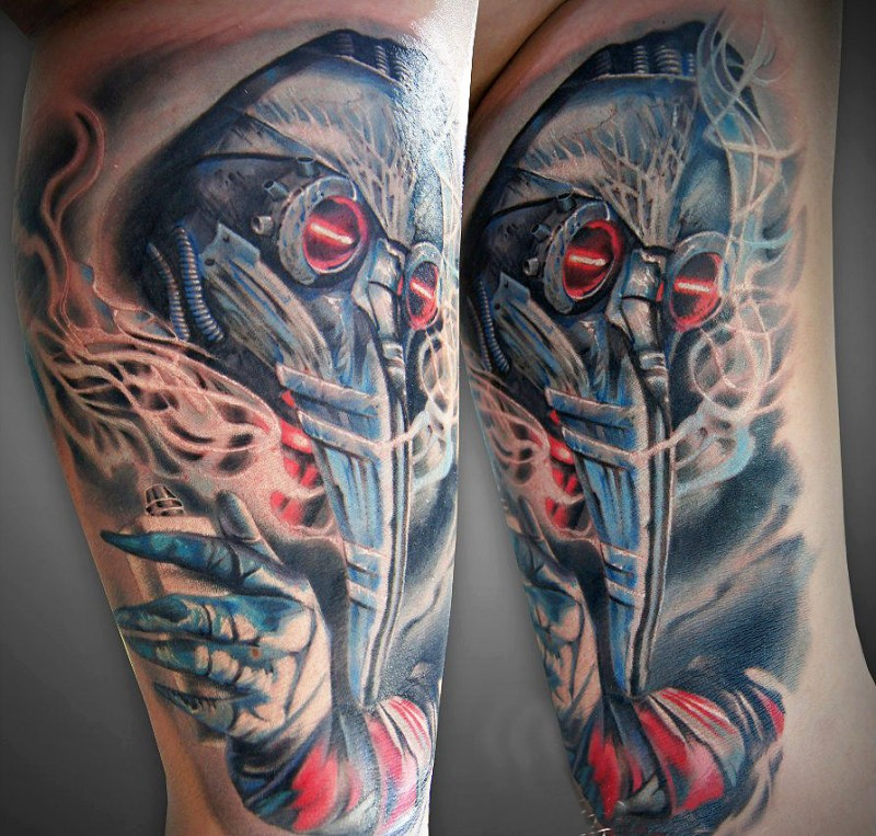 Modern style colored biceps tattoo of fantastic plague doctor