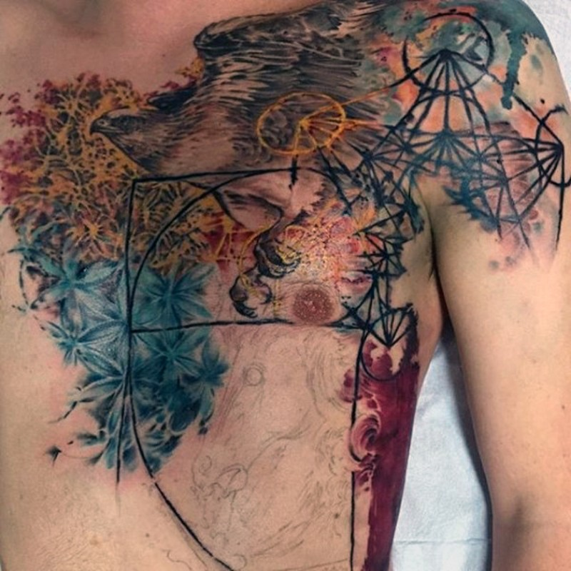 Modern style colored chest and shoulder tattoo of flying eagle and flowers