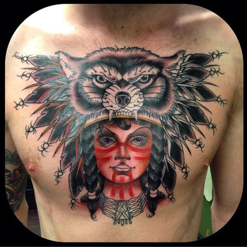 Modern style colored chest tattoo of Indian woman with cool helmet