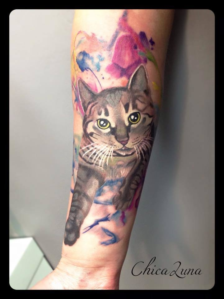 Modern style colored for girls tattoo of cat portrait with flowers